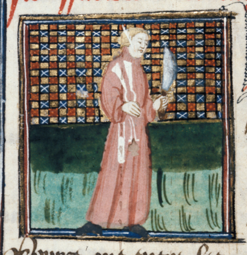 A 15th-century illustration of a scribe holding a knife, shears, a pen-case, and an ink-pot.