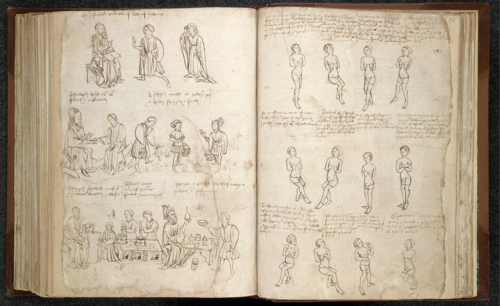 An opening from a 15th-century copy of a treatise by John Arderne, showing drawings of medical practitioners and diagrams.