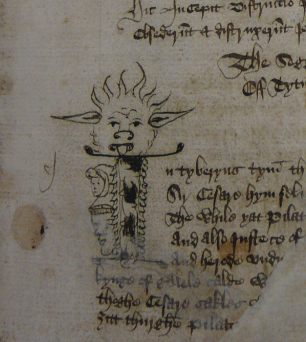 A detail from the London Thornton Manuscript, showing a decorated initial with an illustration of grotesque.