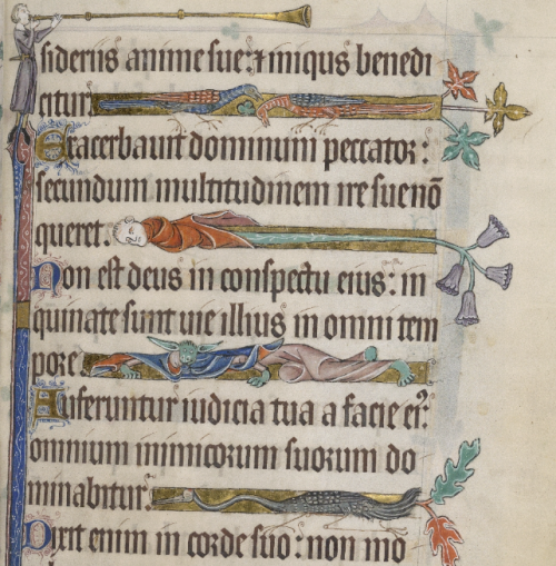 Decorated line justifications in a page from the Luttrell Psalter.