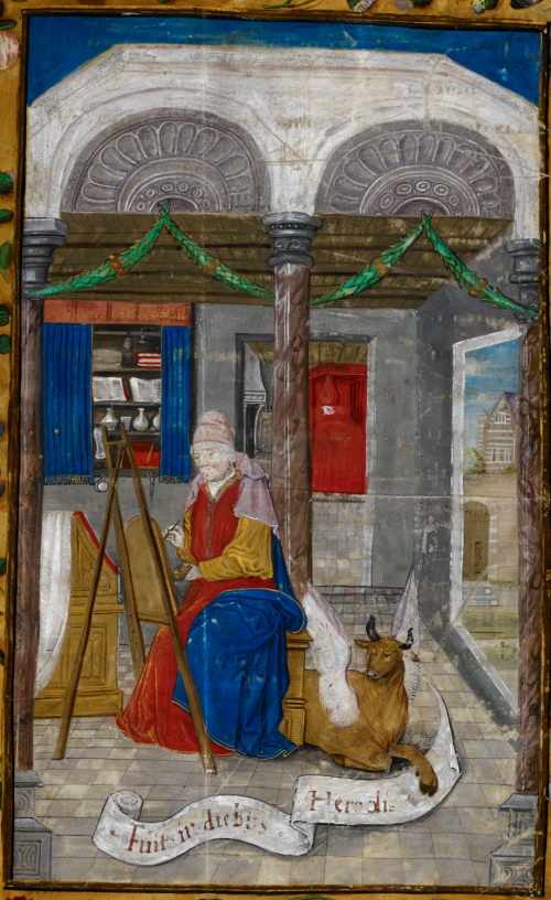 A page from a copy of the Gospels of St Luke and St John, showing a portrait of St Luke painting at an easel.