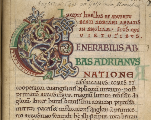 The opening of Goscelin's Life of Hadrian, showing a large decorated initial.