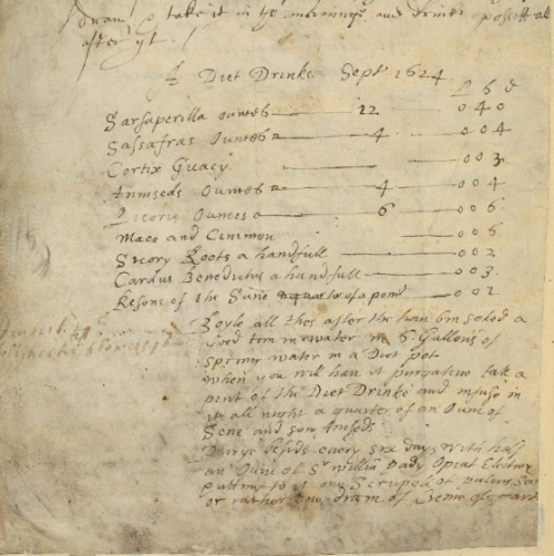 A 17th-century recipe for 'A Diet Drinke' by Peter Harvey, added to the Old English Herbal.