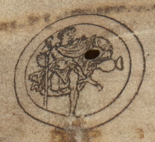 A detail from an Anglo-Saxon calendar, showing an illustration of Ganymede the water-carrier, the symbol of the astrological sign Aquarius.