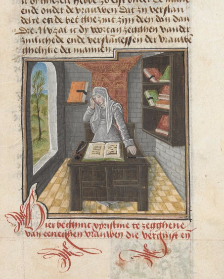 A detail from a Flemish translation of Christine de Pizan's Cité des dames, showing an illustration of Cornificia in her study.