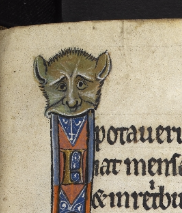 A marginal illustration of a grotesque from the Rutland Psalter.