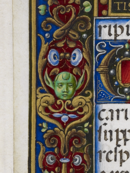 A detail of a decorated border from the Sforza Hours.