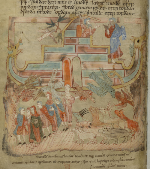 A page from the Old English Hexateuch, showing an illustration of Noah's Ark.