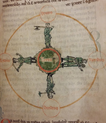 A detail from a medieval manuscript, showing a diagram of the Earth in a circle, with personifications of the four cardinal points.