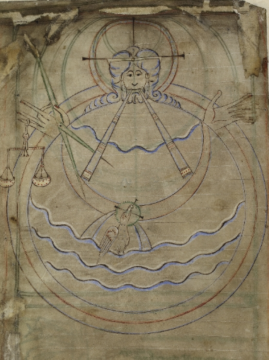 A page from the Tiberius Psalter, showing an illustration of God creating the Earth, with a compass and scales.