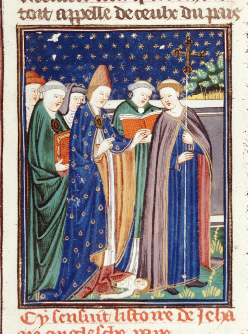 A detail from a French translation of Boccaccio's On famous women, showing an illustration of Pope Joan giving birth during a procession.