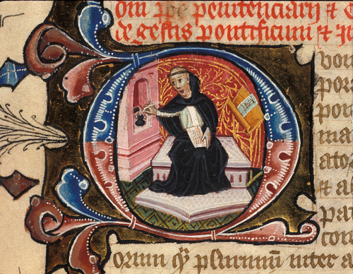 A detail from a copy of the chronicle of Martin of Troppau, showing a portrait of Martin in a historiated initial