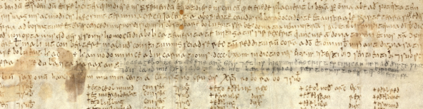 A detail from a 9th-century charter, showing an addition to the text in Old English.